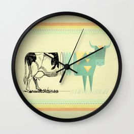 the black and white cow who wanted to be colorfully geometric  Wall Clock