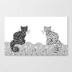 Black Cat White Cat Canvas Print