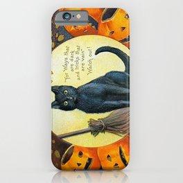 Merry Halloween Black Cat iPhone Case