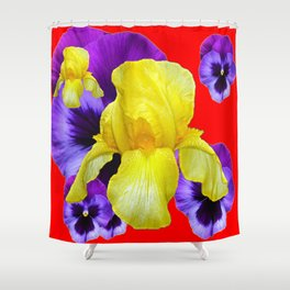RED COLOR YELLOW-PURPLE PANSY ART Shower Curtain