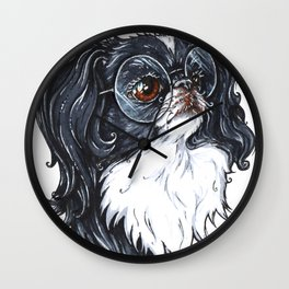 Cute dog - japanese chin - with round glasses Wall Clock