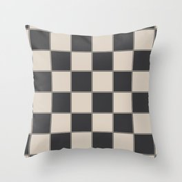Traditional Checkerboard, Ecru-Beige and Chocolate-Deep Brown Throw Pillow