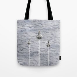 F22 Stealth Fighters Climbing in Clouds Tote Bag