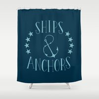 ships Shower Curtains featuring Ships & Anchors by Travis Passons
