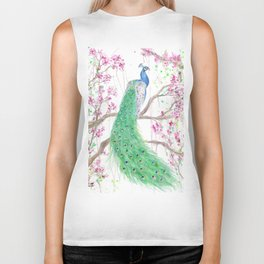 "Watercolor Painting of Picture ""Peacock"" Biker Tank"