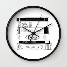 Jane Austen Book Stack Wall Clock