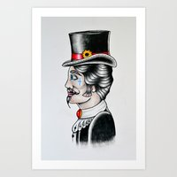 gentleman Art Prints featuring Gentleman by Kristian Jakobsen Sillesen