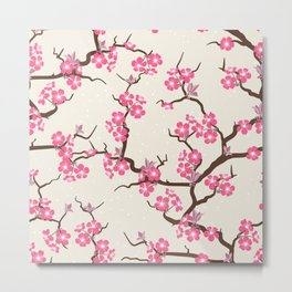 Pink Beautiful Floral Spring Blossom Metal Print