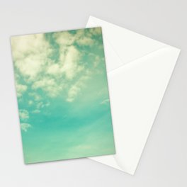 Retro Vintage Blue Turquoise Fall Sky and Clouds Stationery Cards