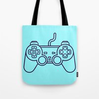 playstation Tote Bags featuring Playstation 1 Controller - Retro Style! by Rikard Röhr