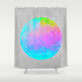 The Dots Will Somehow Connect (Geometric Sphere) Shower Curtain