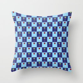 Blue Checkerboard Cherry Sour Lime Wild Chery Lollipops Throw Pillow