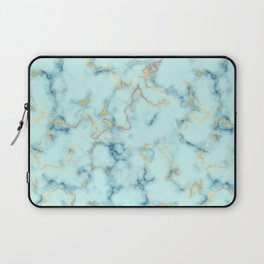 Marble pattern teal blue and gold Laptop Sleeve