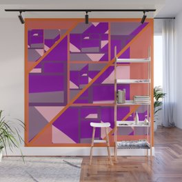 Outspoken Orange with patterns of pink, purple and mauve Wall Mural