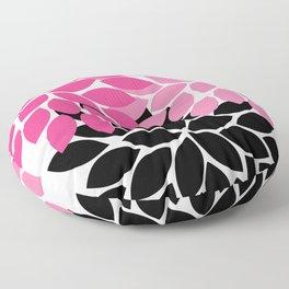 Bold Colorful Hot Pink Black Dahlia Flower Burst Petals Floor Pillow