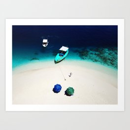 On the beach in Maldives Art Print