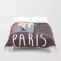 travel poster Duvet Covers featuring Vintage Paris Travel Poster cartoon by Nick's Emporium