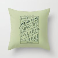 jane austen Throw Pillows featuring Jane Austen Covers: Emma by Leah Doguet