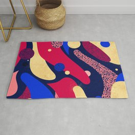 Psychedelic terrazzo galaxy blue night gold red Rug