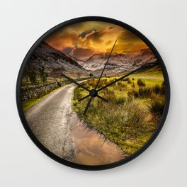 Valley Sunset Snowdonia Wall Clock