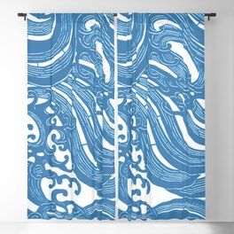 Stencil with Pattern of Waves,19th century Japan (Edited Blue) Blackout Curtain