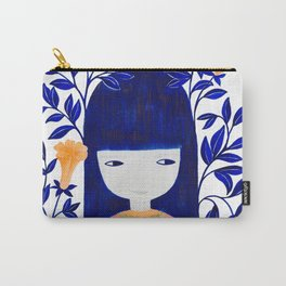 girl with blue leaves and orange flowers illustration Carry-All Pouch