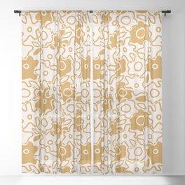 Wonky Overlap Flowers Tan Sheer Curtain
