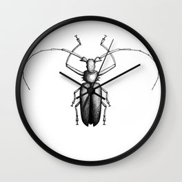 Beetle hand-drawn in the style of vintage etchings Wall Clock