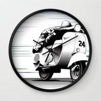 racing Wall Clocks featuring Racing by Don Paris Schlotman