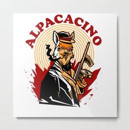 Alpacacino Funny Alpaca Shirt Metal Print