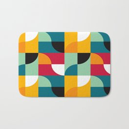 Geometric Pattern #31 (yellow red green curves) Bath Mat
