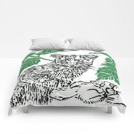 woodblock print Comforters
