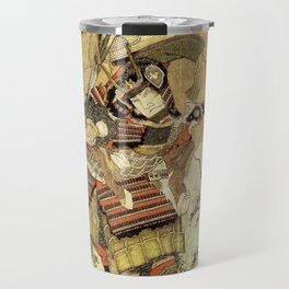 Hokusai – Hatakeyama Shigetada carrying his horse,  葛飾 北斎, Samurai,Genpei,Jidaigeki. Travel Mug