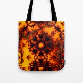 Mystical Golden Fire Lake, Abstract Fractal Baroque Illusion Tote Bag