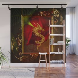 Wonderful chinese dragon, gold colors Wall Mural