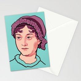 Jane Austen Portrait Blue Purple Stationery Cards