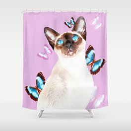 Siamese Butterfly Pink Shower Curtain