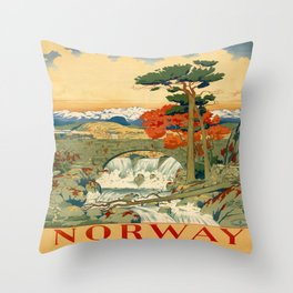 Vintage poster - Norway Throw Pillow