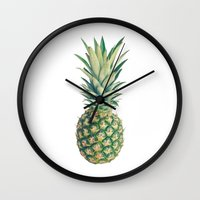 pineapple Wall Clocks featuring Pineapple by Cassia Beck
