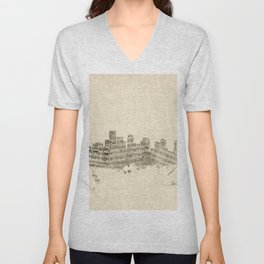 Boston Massachusetts Skyline Sheet Music Cityscape Unisex V-Neck