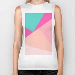 Pastel pink turquoise modern geometric color block pattern Biker Tank