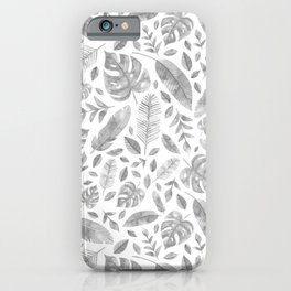 Tropical Leaves in Black and White iPhone Case