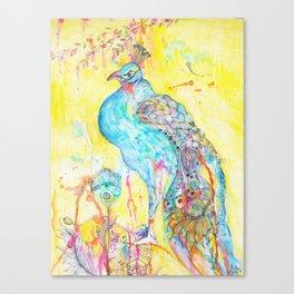 Where Peacocks Kiss the Raindrops Canvas Print