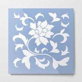 Oriental Flower - Serenity Blue Metal Print