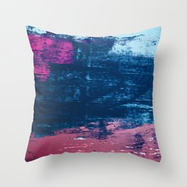Early Bird [2]: A vibrant minimal abstract piece in blues and pink by Alyssa Hamilton Art Throw Pillow