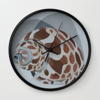 shells Wall Clocks featuring Shells by Marjolein