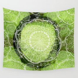 Green mandala Wall Tapestry