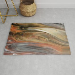 Fluid Nature - Metallic Flows - Abstract Acrylic Art Rug