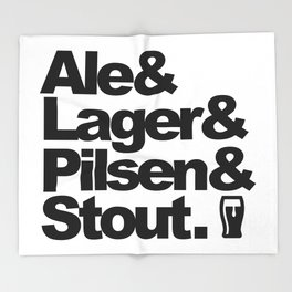 Ale and Lager and Pilsen and Stout Throw Blanket