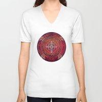chakra V-neck T-shirts featuring Root Chakra by brenda erickson